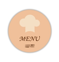 Restaurant label with chef hat and flatware vector image