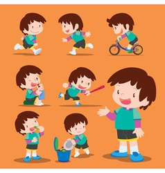 set cute boy many actions vector image