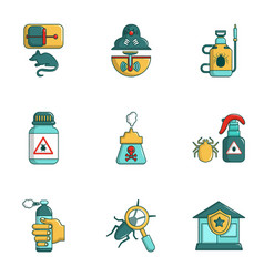 exterminators of insects icons set cartoon style vector image