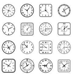 face clock icon flat set vector image
