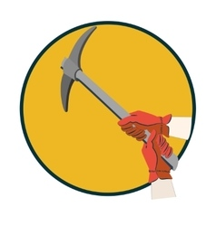 Hands in gloves using pickax vector image vector image