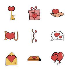 romance icons set cartoon style vector image