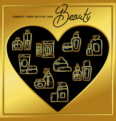 set of beauty cosmetics icons drawn in gold lines vector image vector image