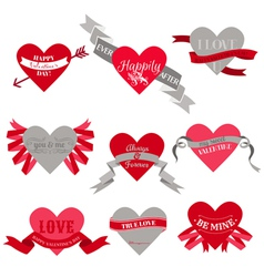Valentines Day Heart Labels Tags Ribbons Frames vector image vector image