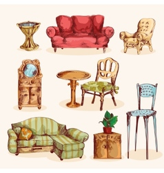 Furniture Sketch Colored vector image