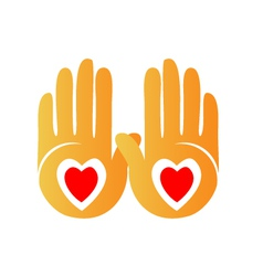 Hands and hearts logo vector image vector image