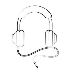 headphones with cord music icon image vector image