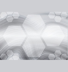 hexagon and curves gray abstract background vector image