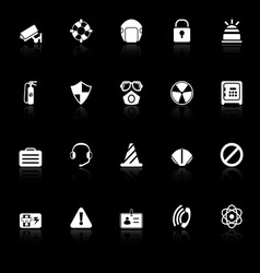 Safety icons with reflect on black background vector image
