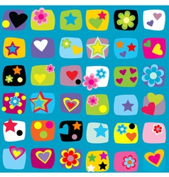 Seamless pattern with stars flowers and hearts vector image vector image