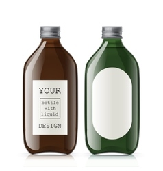Set of different empty glass bottles vector image