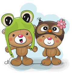 two cute cartoon bears in a frog and owl hat vector image vector image