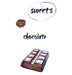 bar of chocolate watercolor vector image