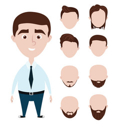 cartoon funny man with haircuts set vector image vector image