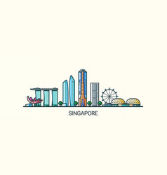 flat line singapore banner vector image vector image