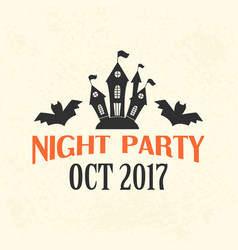 halloween night party emblem template logo badge vector image