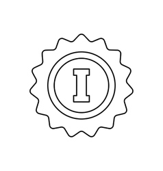 1st place rosette line icon vector image