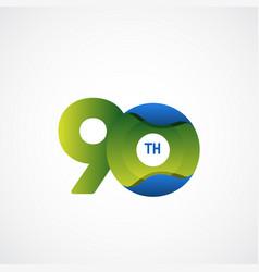 90 th anniversary celebrations green blue vector