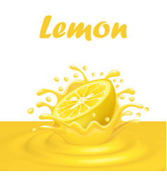 a splash of juice from a falling lemon and drops vector image