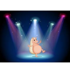 A stage with a molehog dancing vector
