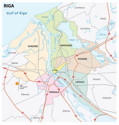 administrative and road map latvia capital riga vector image