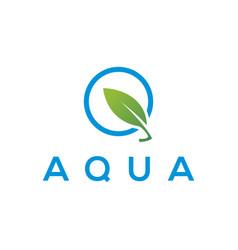 Aqua leaf nature organic eco logo design modern vector