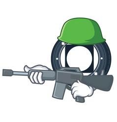 Army byteball bytes coin character cartoon vector