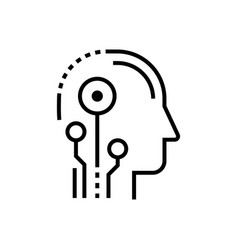 artificial intelligence head - line design single vector image