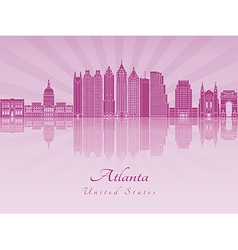 Atlanta V2 skyline in purple radiant orchid vector image