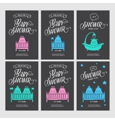 bashower invitations doodle collection vector image