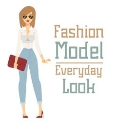 Beautiful cartoon fashion girl model vector