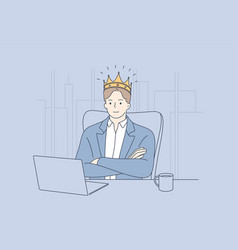 Big boss confident businessman director concept vector