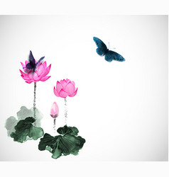 Big butterflies and lotus flowers on white vector