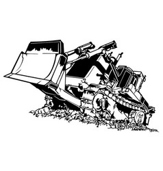 Black and white bulldozer vector