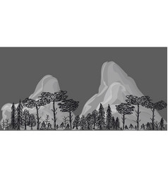 border from trees and mountains on grey background vector image