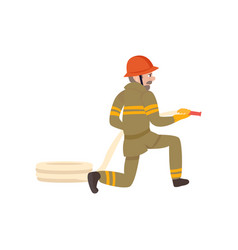 boy firefighter wearing protective uniform and vector image