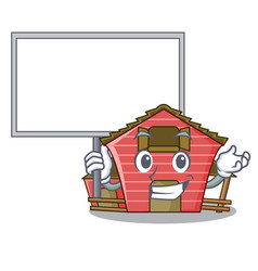 Bring board character red barn building with vector