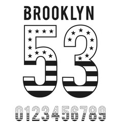 brooklyn black white textured flag usa vector image