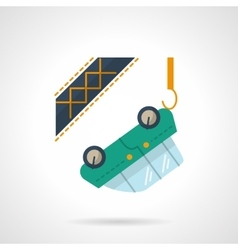 Car towing flat color design icon vector image