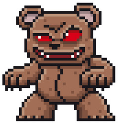 cartoon monster bear - pixel design vector image