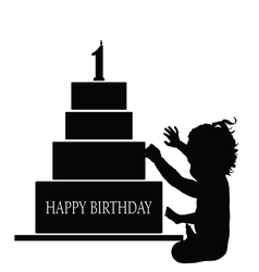 child silhouette with birthday cake vector image