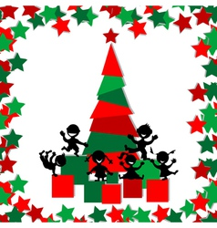Christmas card with kids playing around a vector image