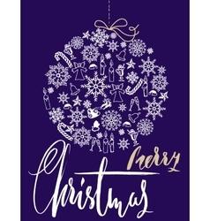 Christmas snowflakes ball Card with christmas vector image