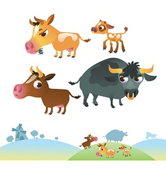 Collection of cow family vector image
