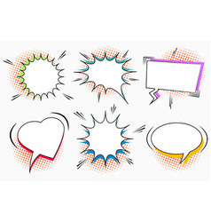 comic white speech bubbles set vector image