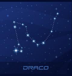 Constellation draco dragon night star sky vector