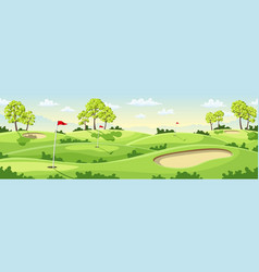 Countryside golf course with flags vector
