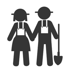 couple farmers shovel icon vector image