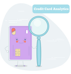 credit card analytics concept in line art style vector image