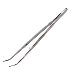 Curved metal tweezers for the dentist hand metal vector
